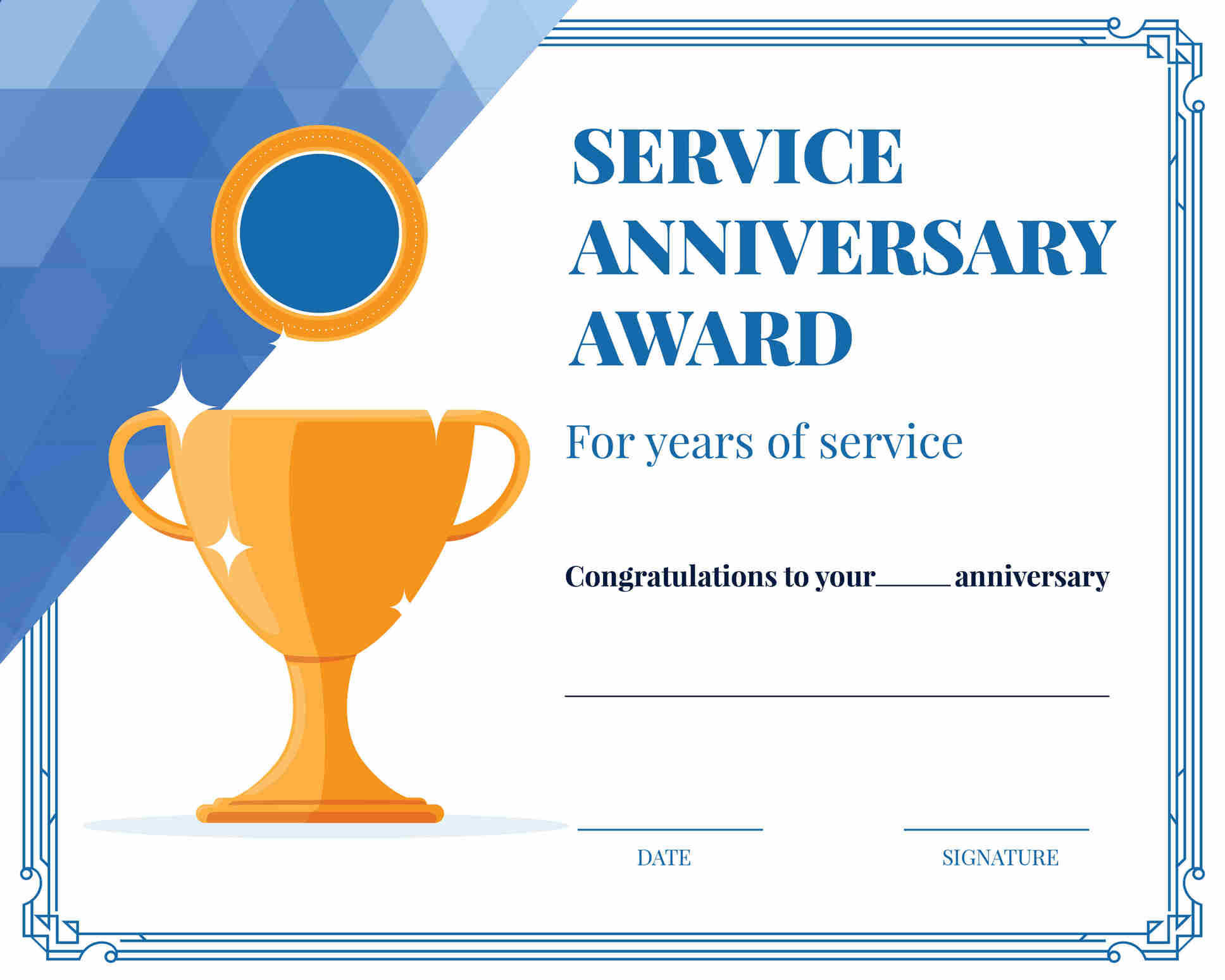 Years of work service award certificate template