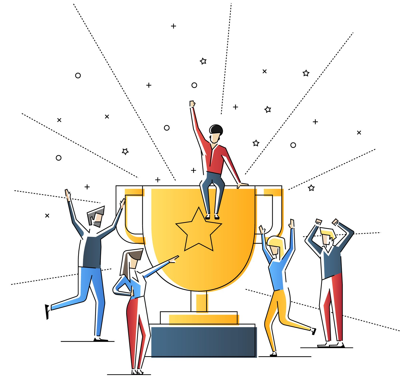 Illustrations of people showing employee recognition