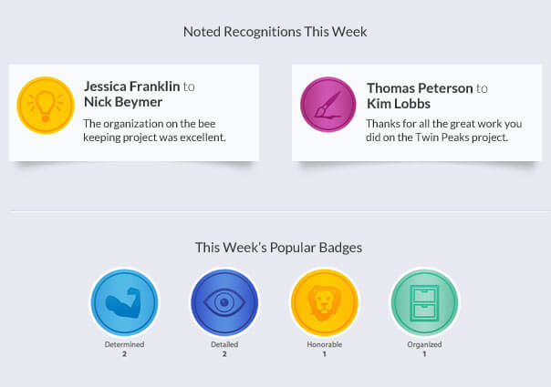 Email example showing noted recognitions and last week badges