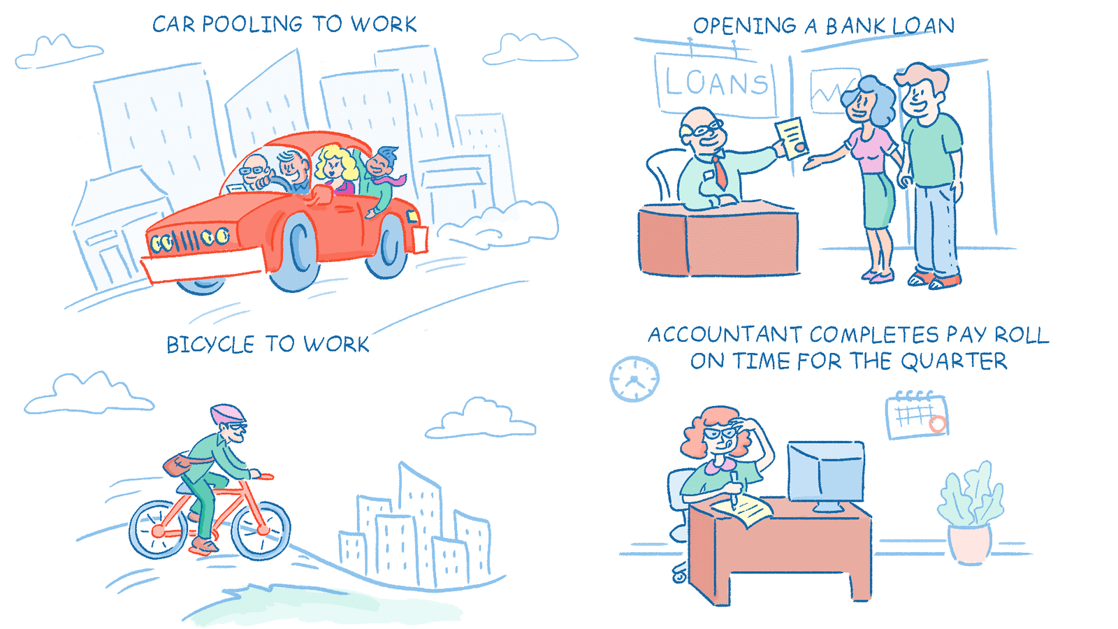 An illustration of good deeds to be recognized in our employee incentive app, such as car pooling.