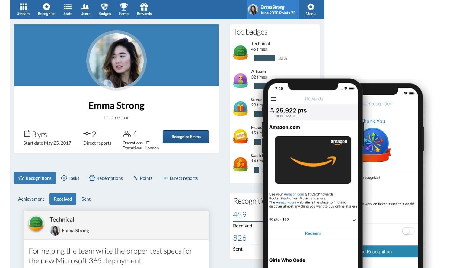 A screenshot of Recognize where employees can give appreication to each other and see their own profile of points, recognitions, and rewards.
