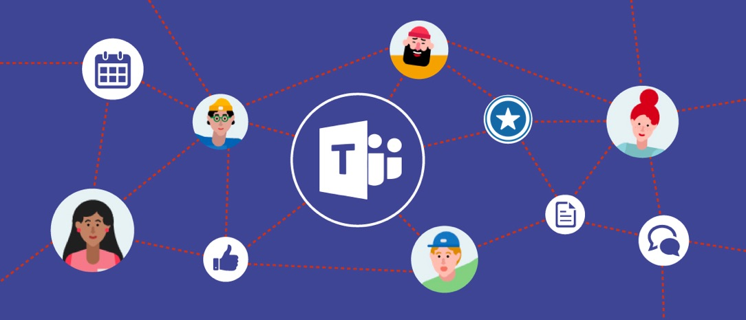 A business shop illustration with Microsoft teams logo