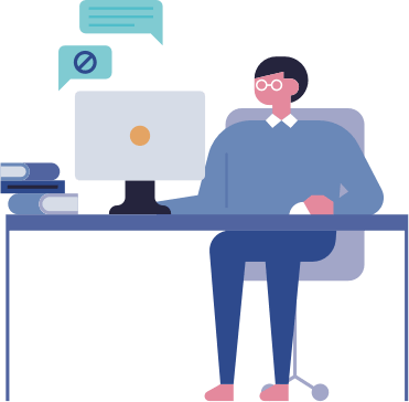 An illustration of an employee working at their desk.